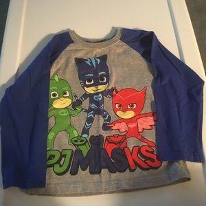 NWT Boys Size 5T PJ Masks Short Sleeve T Shirt Tee Blue Owlette Catboy Gekko